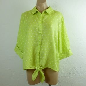 Chicos Linen Shirt size 3 XL Tie Front Polka Dot